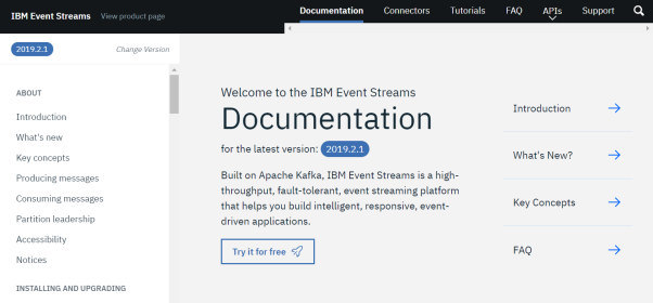 Screenshot of IBM Event Streams documentation home page