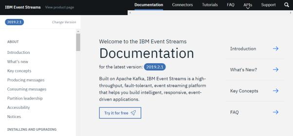 Screenshot of IBM Event Streams documentation home page