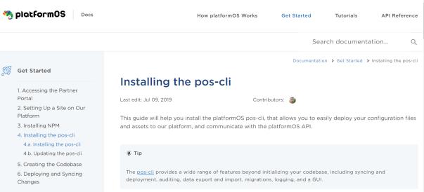 Screenshot of platformOS Developer Portal